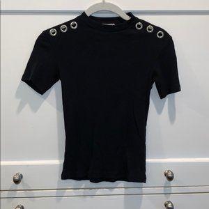 Zara Black Grommet Detail Mock Neck T-shirt NWT S